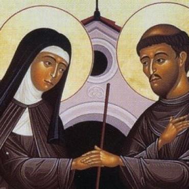 Franciscus-en-Clara-ontmoeten-elkaar-in-San-Damiano
